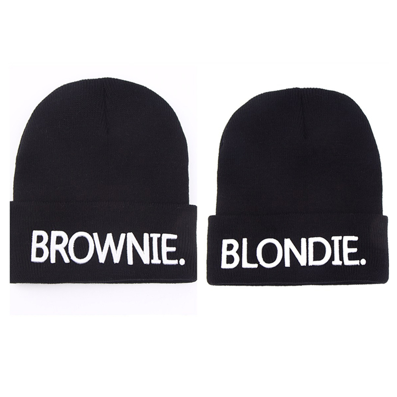 BLONDIE BROWNIE Embroidery Hot Sale Beanies girlfriend Women Gifts For Her Knitted hat Skullies Bonnet Winter Hats high quality