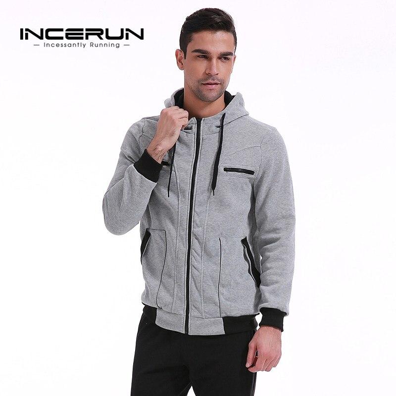 Hoodies Men INCERUN Male Long Sleeve Grey Color Zipper Hooded Mens Sweatshirt Mens Hoodie Tracksuit Sweat Coat Casual Clothing