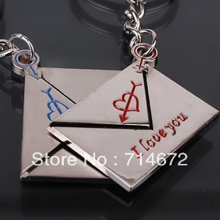 """Free shipping (50PR/LOT )Wholesale Alloy envelope  """"I LOVE YOU"""" Couple Key Chain Ring Keyring Lover Gift"""