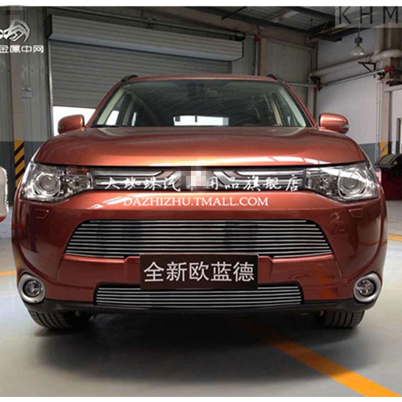 High quality aluminium alloy Front Grille Around trim Racing Grills trim for 2013-2015 Mitsubishi Outlande ,Car styling abs chrome front grille around trim racing grills trim for 2013 hyundai santa fe ix45