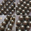 2 3 4 6 8 10 12 14 16 18 20mm 1string/lot Natural Stone Pyrite Round Loose Beads Fit Shamballa Bracelet Free Shipping
