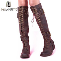 Prova Perfetto Fashion Women Lace Up Riding Boots Chunky High Heel Knee High Boots Buckle Side Zipper Motorcycle Boots Shoes