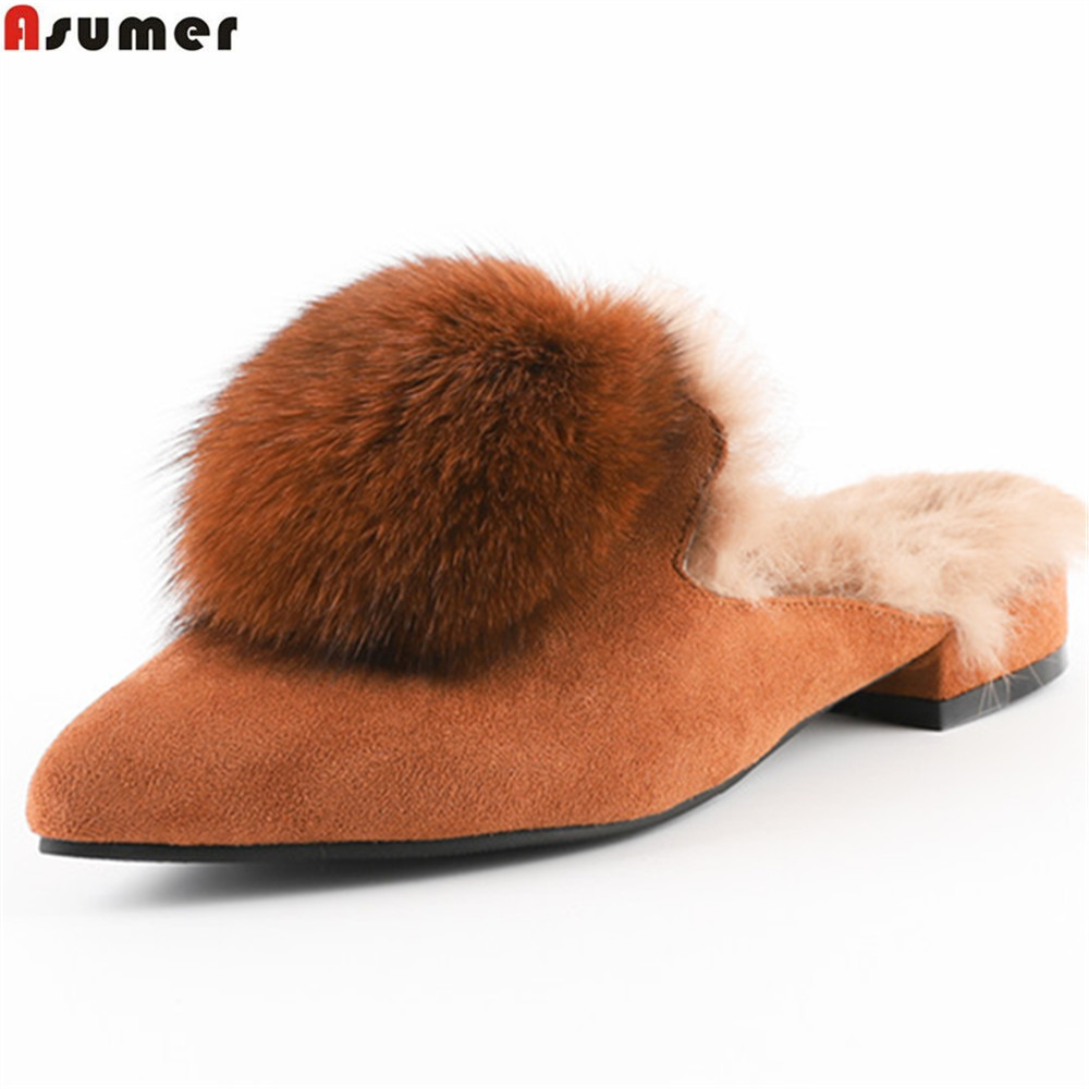 ASUMER black fahsion women pumps pointed toe autumn winter ladies kid suede shoes fur leather low heel shoes mulesASUMER black fahsion women pumps pointed toe autumn winter ladies kid suede shoes fur leather low heel shoes mules
