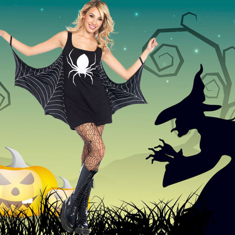 Women Halloween Costume Dress Spider Low Neck Off Shoulder Role CosPlay Sexy Adult Seductress Mini Dress Black