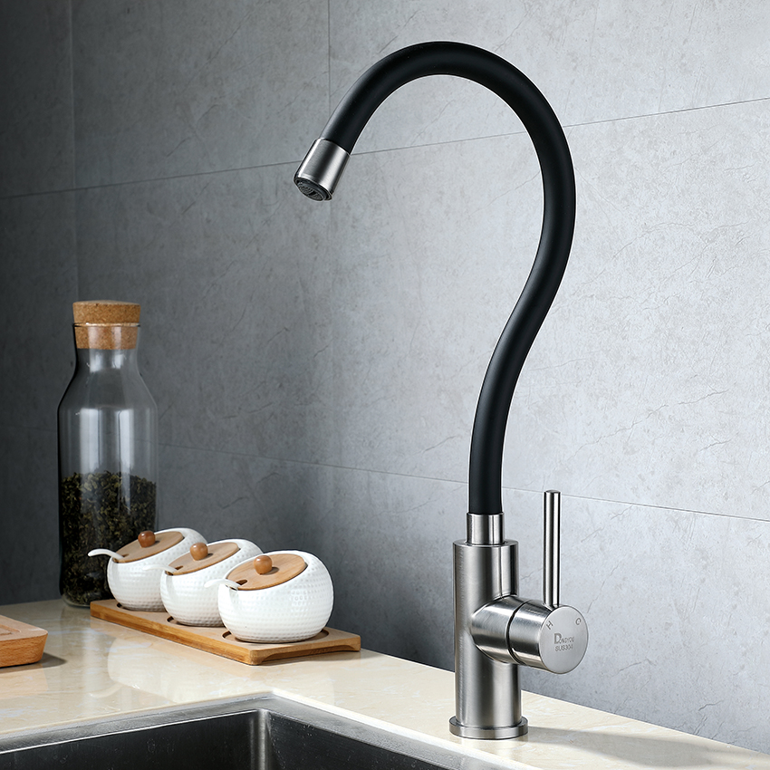 Universal tube sink tap black kitchen faucet SUS304 stainless steel Lead-free cold and hot single hole faucets