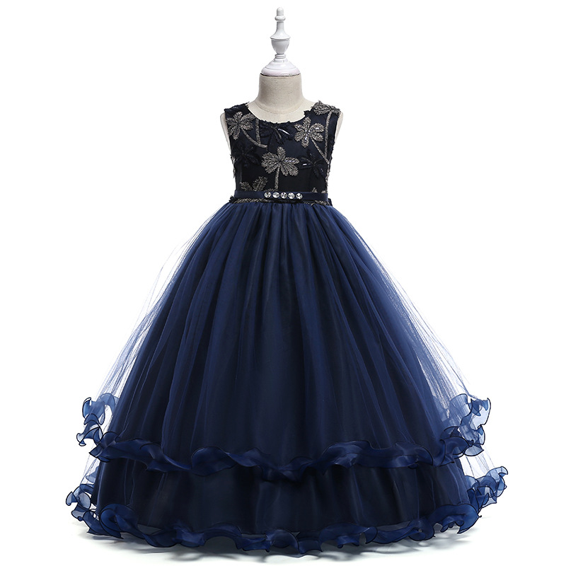 Navy   Flower     Girl     Dresses   Cap Sleeves Scoop Ball Gown Sequined Tulle   Dress   Cute with Elegant 2018 Spring New Fashion Style