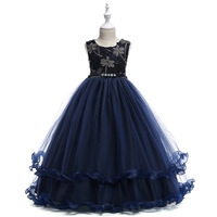 Navy Flower Girl Dresses Cap Sleeves Scoop Ball Gown Sequined Tulle Dress Cute With Elegant 2018