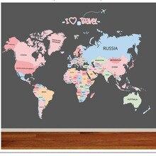 Детские стикеры на стену, спальня, детская комната, образовательная карта мира, классный декор, цветная английская Наклейка на стену, наклейка на стену