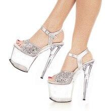 20 CM Plattform kristallschuhe 8 zoll high heel schuhe sexy frauen fashion Exotic Dancer schuhe silber partei schuhe