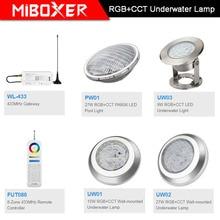 Miboxer AC12V/DC12-24V IP68 underwater 9W/15W/27W RGB+CCT Wall-mounted Underwater Lamp 27W PAR56 LED Pool Light;433MHz Gateway