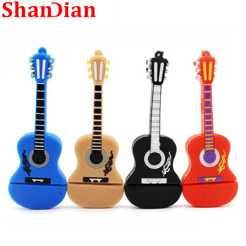 SHANDIAN Retail And Wholesale Hot Style 64G/4G USB Flash Drive PenDrive Cartoon Guitar Shaped Memory Stick Music Gifts Pendrives