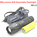 26650 led flashlight XM-L2 Lumens E26 Zoomable flash light led light Zoom +1x 26650 6800mah battery+charger
