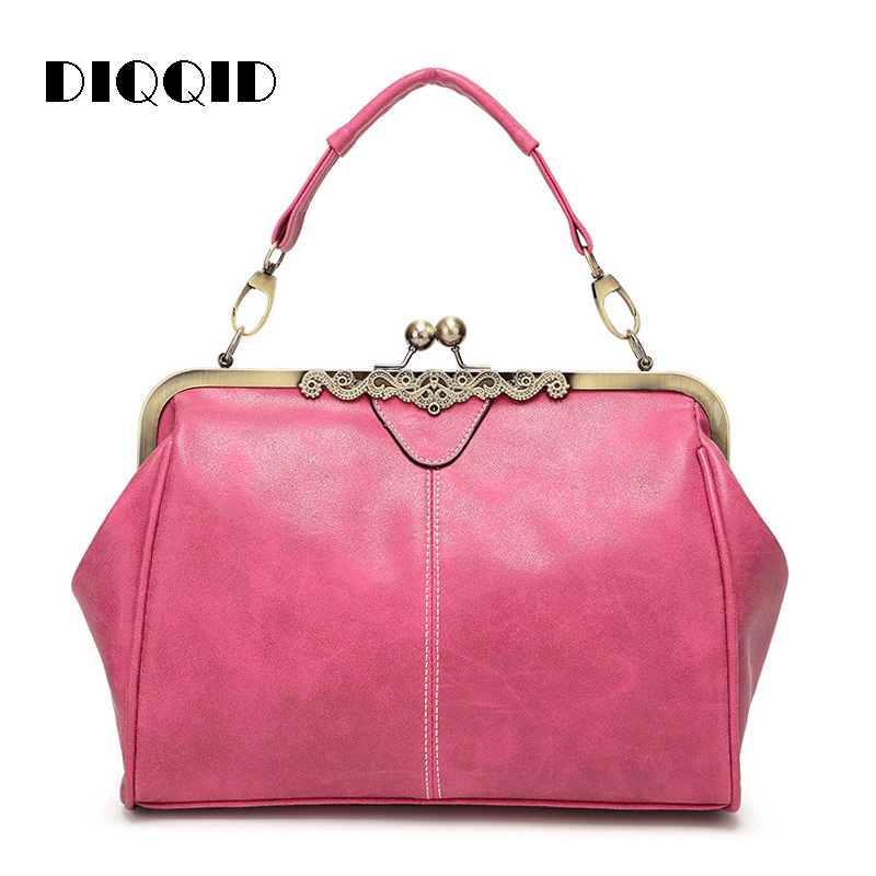 DIQQID Women Vintage Messenger Bags Retro Kiss Hasp Leather Shoulder Tote Bag Ladies High Quality Purses and Handbags sac a main