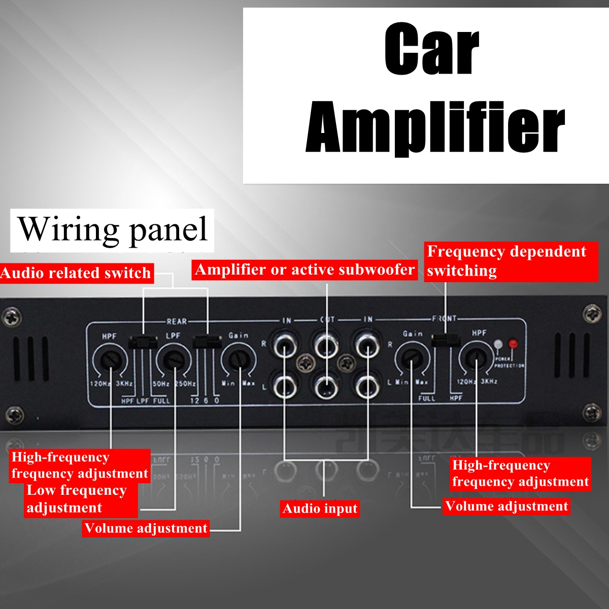 Power Hifi Amplifier 4ch 3800w Audio Stereo 12v Amp Speaker 2 Ohm 3khz Low Pass Filter And Circuit Diagram Super Variable High Crossover Efficiency Mosfet Supply Thermai Short Overloading Protection Tri Mode Output Configurations