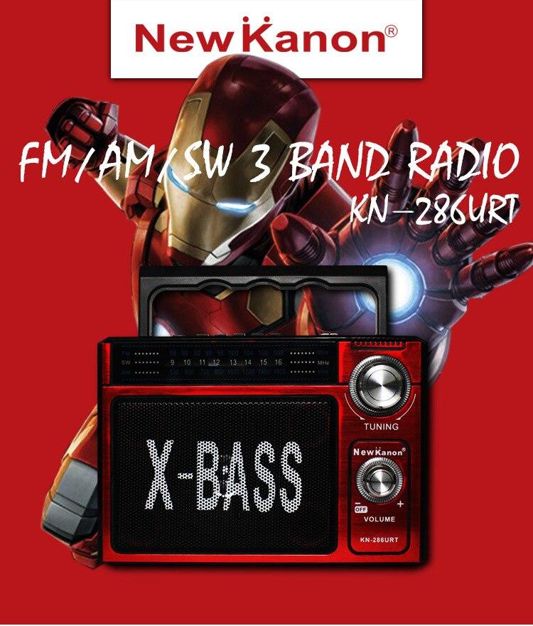 NewKanon KN-286U SW AM FM radio portable multibande haut-parleur SD/TF carte USB rechargeable batterie lampe de poche livraison gratuite