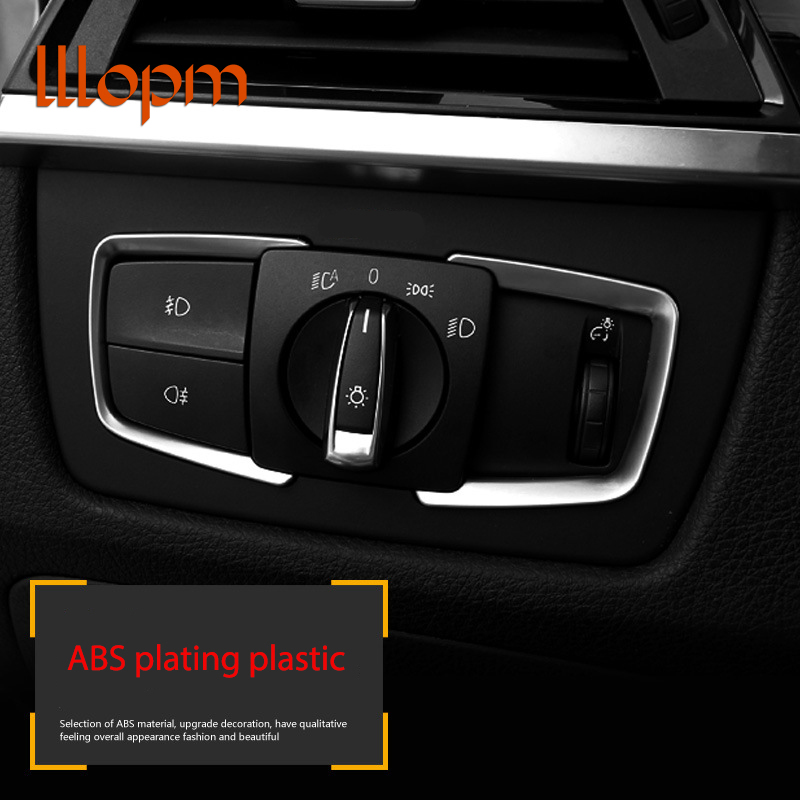 0aaf7be9c7ce 2Pieces Set ABS Headlight Adjust Switch Cover Trim Car Accessories For BMW  F20 118i 120i 135i 2014 2015 2016 Car Styling