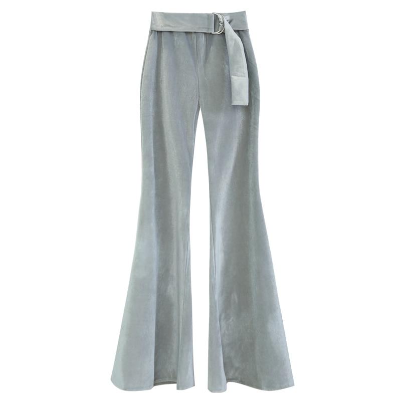 Alta Pierna Pana De Oficina Mujer Moda Cintura Pantalones 2018 Delgada Nueva Ancha Plata Flare Otoño Señora Era Casuales K5WyUHc1y