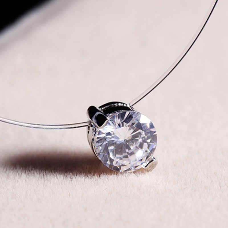 Nueva gargantilla de diamantes de imitación, collar de cadena Invisible de plata transparente para mujer