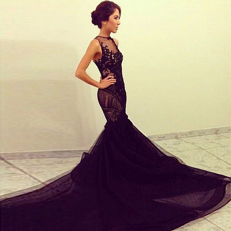 Black dress with long train