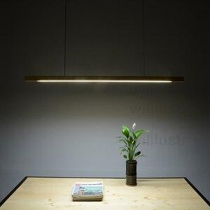 Image 3 - Willlustr LED עץ Talo תליון מנורת אגוז ארוך בר השעיה צינור אור משרד ישיבות אוכל חדר מלון וילה דלפק אור