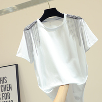 Tshirt Women Short sleeved T shirt with Drilled Tassels New Korean Version of Loose Cotton White T shirt Ladies Top Summer 2019