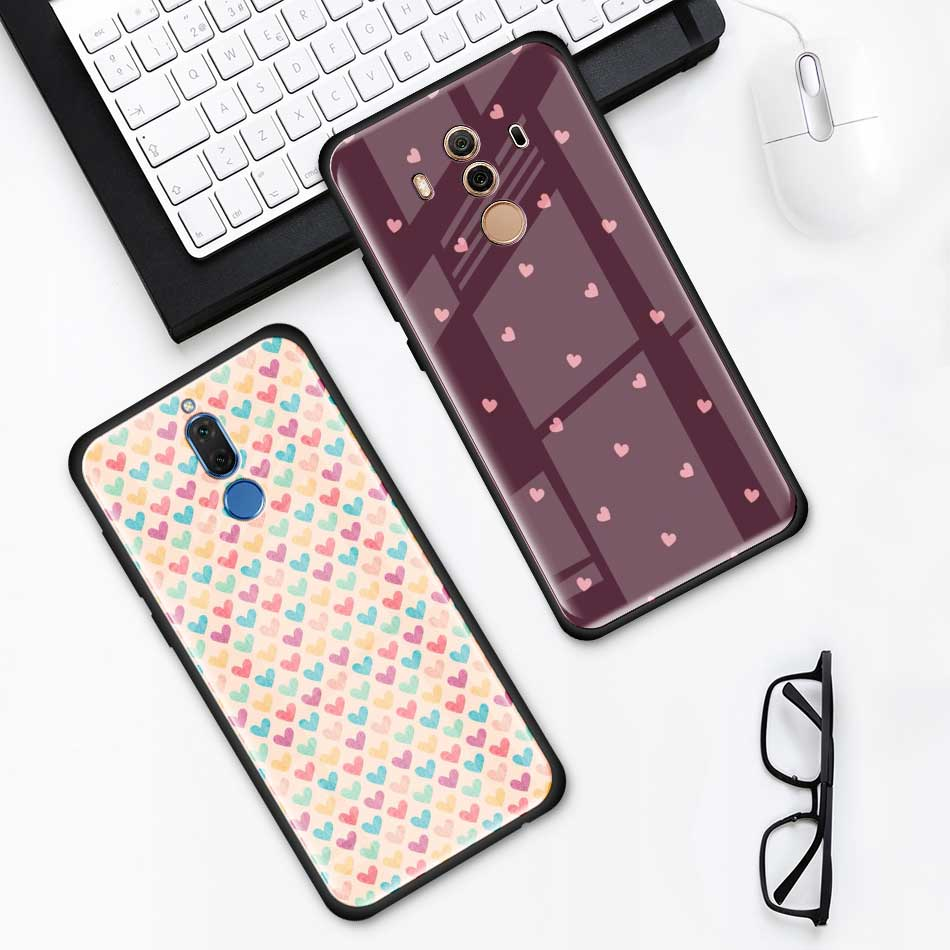 Animal Cute Love Heart Tempered Glass Case For Huawei P30 P40 Pro Plus P20 Lite P Smart 2019 Nova 5I 5T 5Z 7I Phone Cover Shell