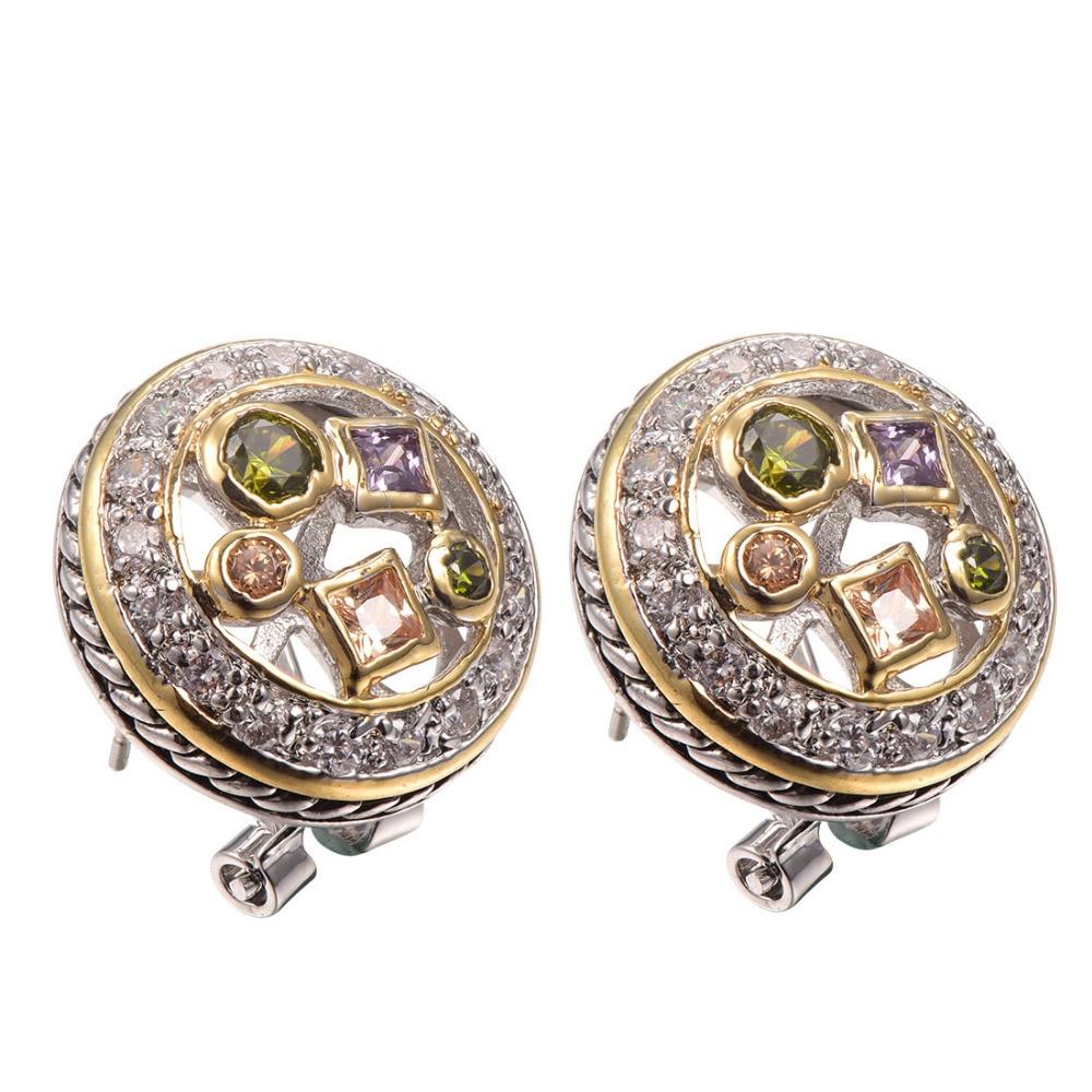 Purple Crystal Zircon Morganite Peridot Women Earrings 925 Sterling Silver Free Shipping Newest Fashion Jewelry Earrings