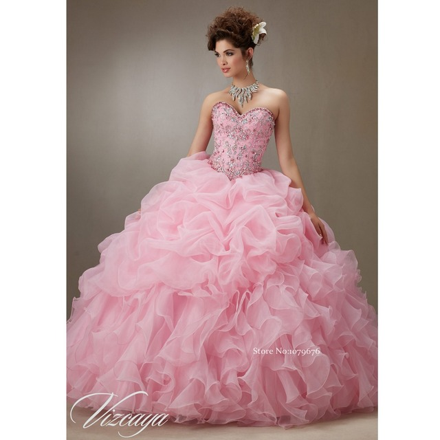 Free Shipping Sweetheart Strapless Princess Quinceanera Dresses Pink  Rhinestone Sweet 16 Ball Gown Prom Dress For Girls DSQ005 4369285f3c0d