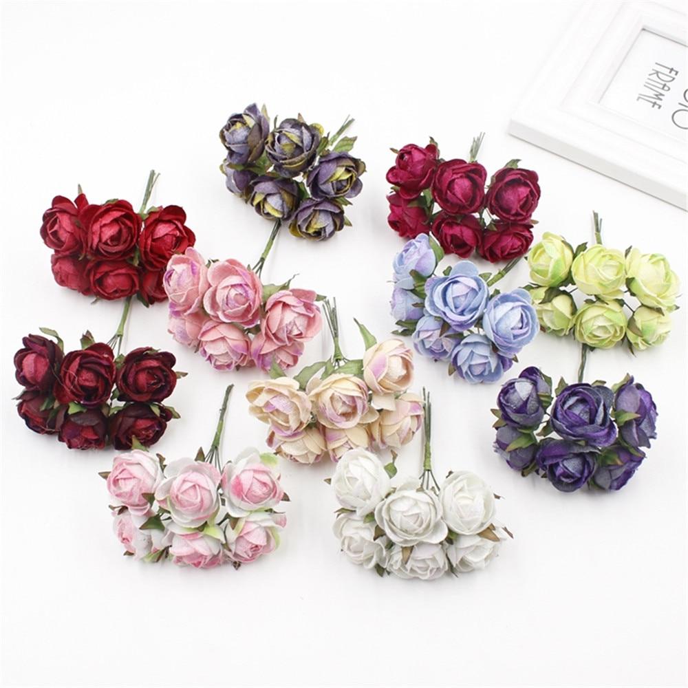 Hot sale 6pcs 3cm silk Artificial Rose flower Bouquet For Wedding ...