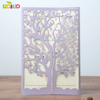 free shipping 50set inc252 Luxury Laser Cut Wedding Invitations Cards Envelope Vintage Greeting Card Kits Event tree card