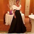 Elegante longo Branco E Preto Arábia Saudita Dubai Vestidos Stain A Line Formal Vestidos de Celebridades vestidos de noche largos