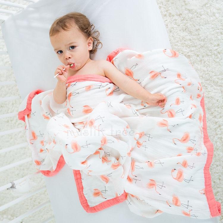 Baby Infant Wrap 2 Layers 120X120cm Baby Quilt Bamboo Fiber Cartoon Printing Newborn Baby Bath Towel Coverlet