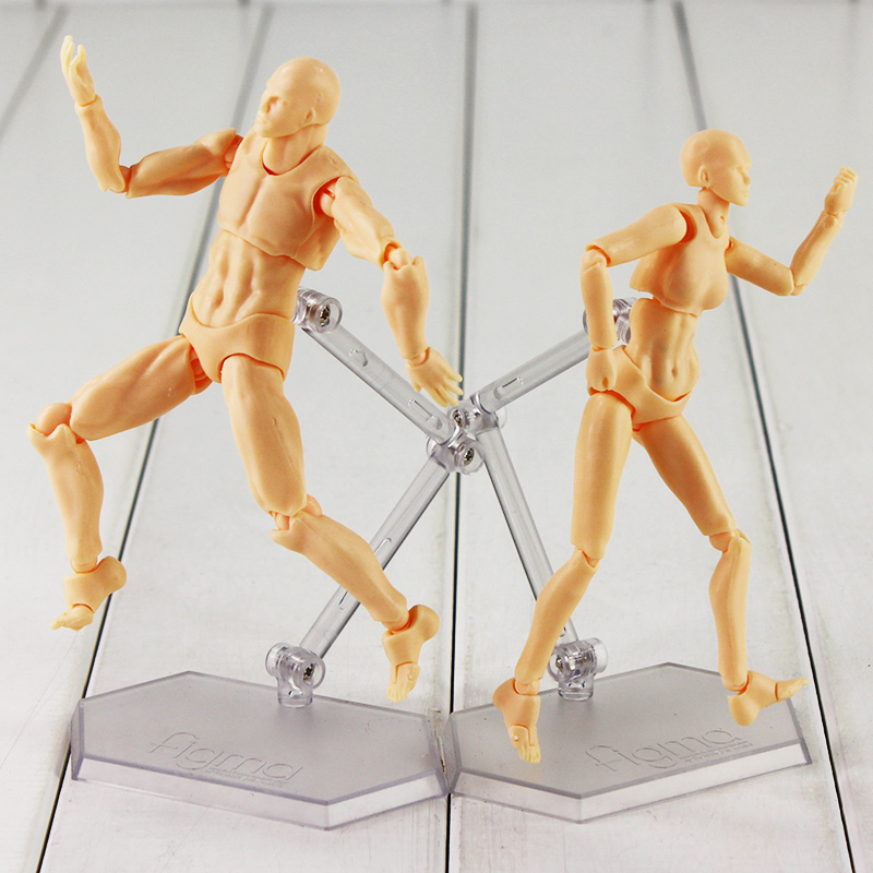 Newest Figma He She PVC Action Figure Human Body Joints Male Female Nude Movable Dolls Anime Models Collections For Children