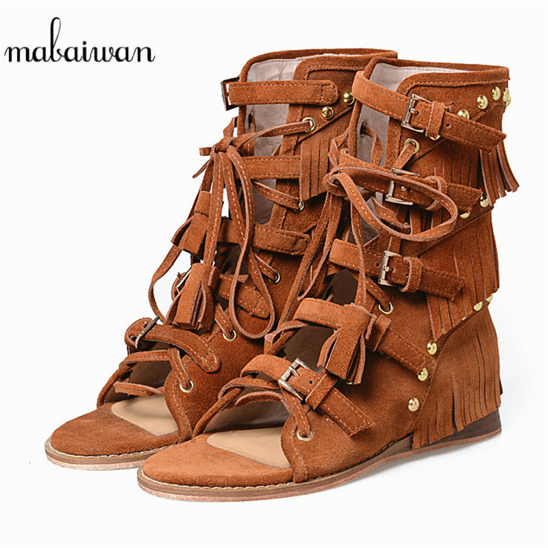 Mabaiwan Brown Women Wedges Genuine Leather Summer Ankle Boots Tassel Peep Toe Shoes Woman Gladiator Hollow Out Rivet Sandals summer tassel sandals fashion rivet gladiator sandals women flats big size hollow shoes woman casual sandal free shipping