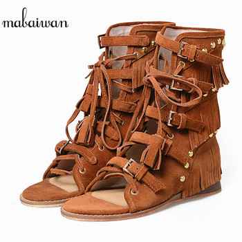 Mabaiwan Brown Women Wedges Genuine Leather Summer Ankle Boots Tassel Peep Toe Shoes Woman Gladiator Hollow Out Rivet Sandals