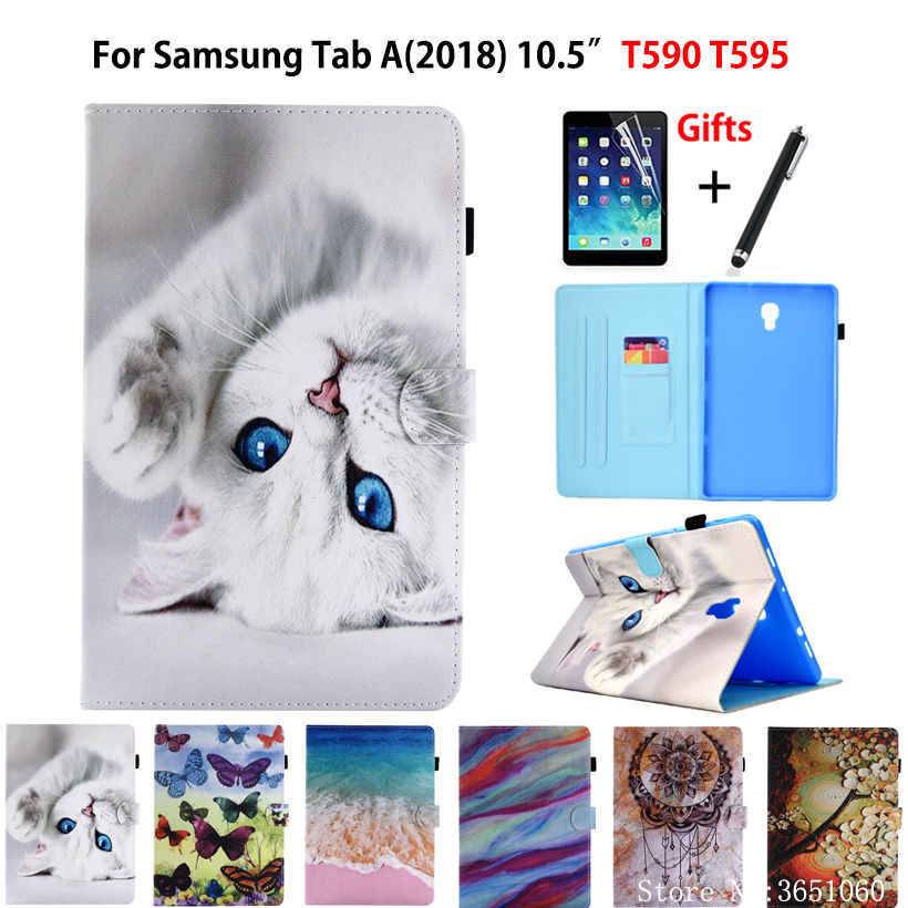 "SM-T595 Tablet Case For Samsung Galaxy Tab A A2 2018 10.5"" T590 T595 T597 SM-T590 Smart Cover Funda Cartoon Cat Shell+Film+Pen"