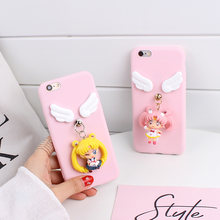 Sam s10 s10plus Cute 3D Sailor Moon phone Case For samsung s7edge soft TPU Cover For galaxy s8 s9 plus Cartoon Angel wings(China)