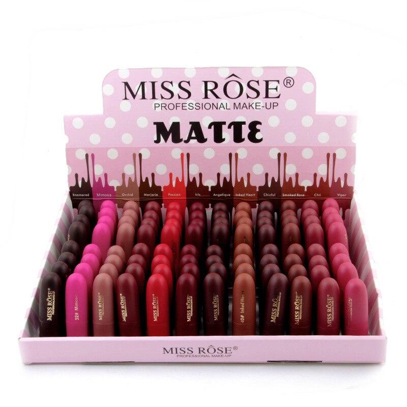 48 STKS/PARTIJ Miss Rose Natuurlijke Lippenstift Waterdichte Up Lip Matte Lip Stick Cosmetica Sexy Rode Lip Tint Naakt Lipstick Matte Batom