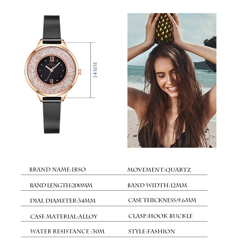 IBSO Brand Women Fashion Watch 2018 Mesh Strap Watch Female Watch 09