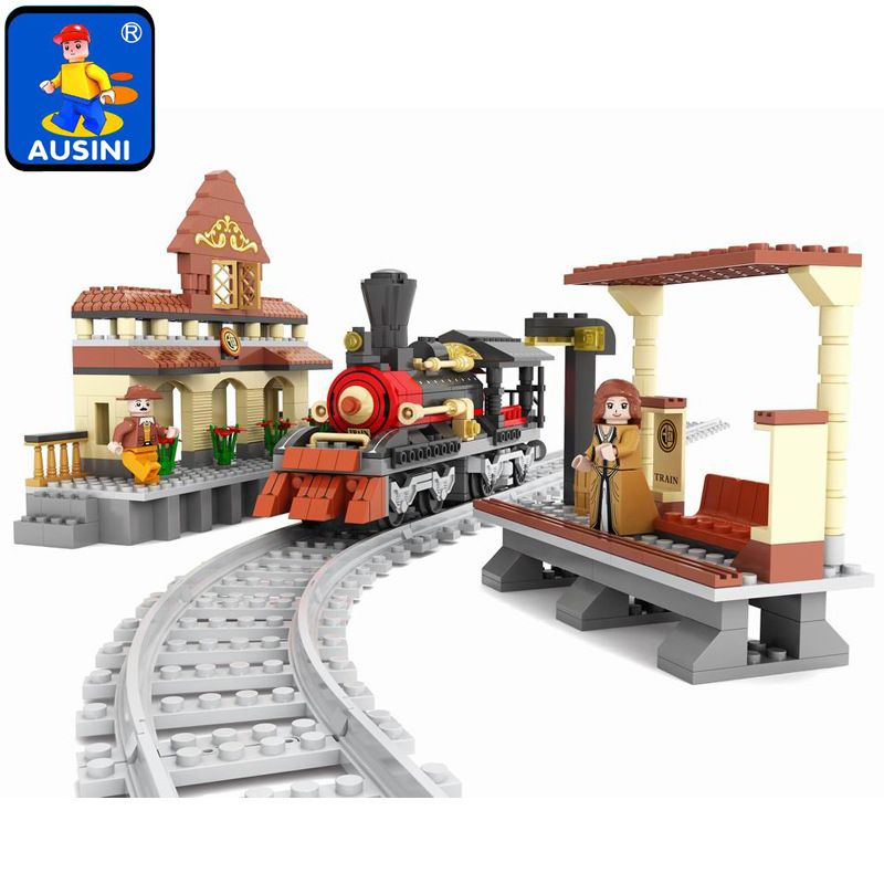 Ausini building block set compatible with lego transportation train 0014 3D Construction Brick Educational Hobbies Toys for Kids ausini building block set compatible with lego castle series 046 3d construction brick educational hobbies toys for kids