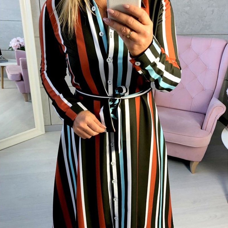 2ab0b2eea029e Combuy==>> DeRuiLaDy 2018 Fashion Turn Down Collar Button Striped Long  Shirt Dress Women Autumn Winter Casual Long Sleeve Maxi Dresses -in Dresses  from ...