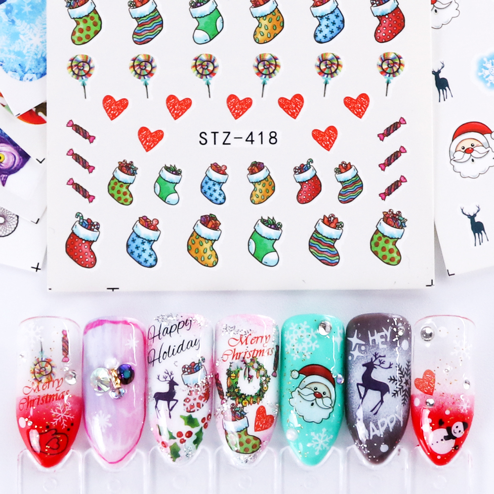 Nail Art Sticker New Year , Tattoo Christmas Water Decal  5