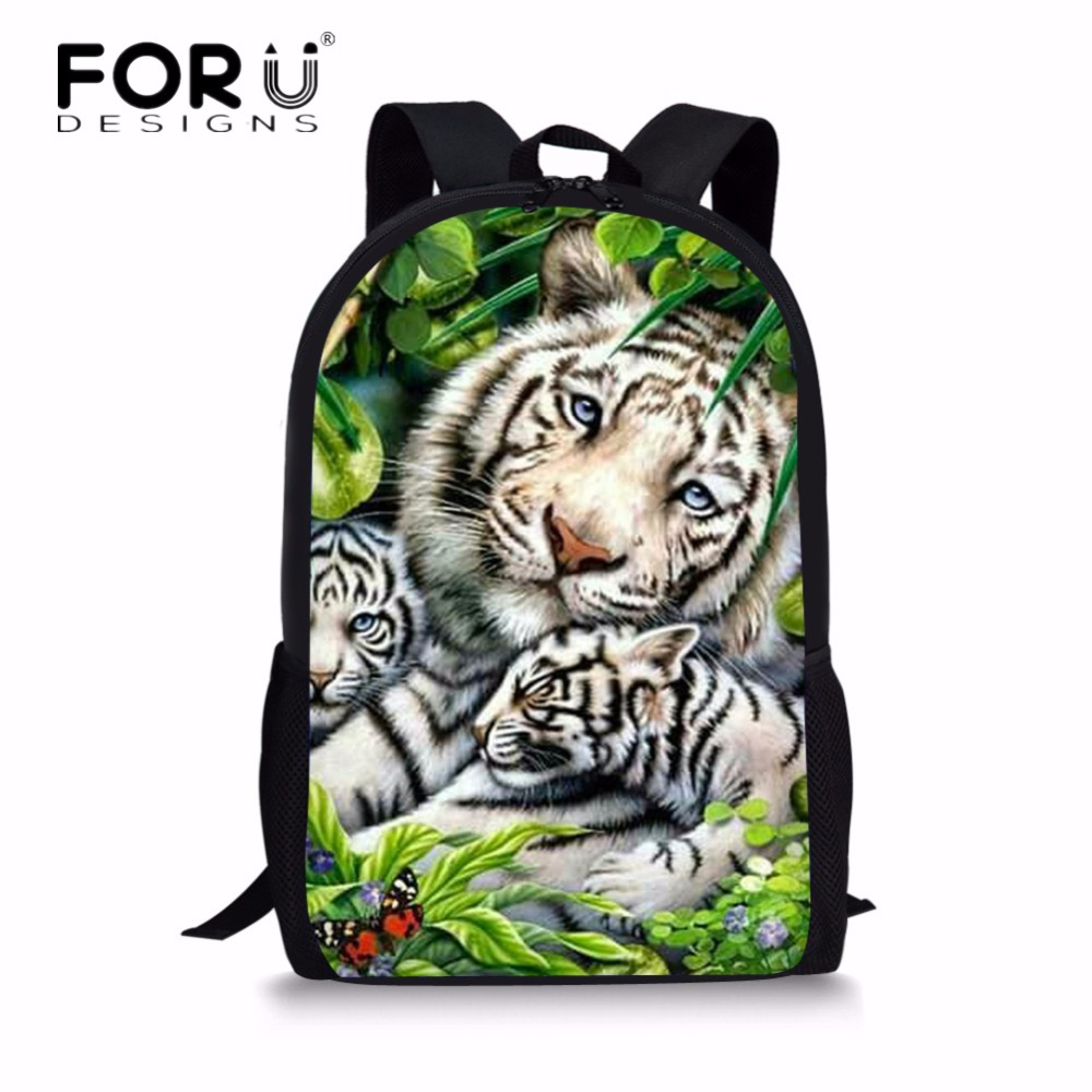 ... exquisite style ec421 2a15f FORUDESIGNS Cool Animal Casual Children  School Bags 3D Wolf Pattern Book Shoulder ... 5d891bfa58bae