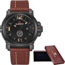 NAVIFORCE Marca Relojes de Los Hombres Del Deporte Militar Reloj de Cuarzo de Hombre de Moda de Cuero Resistente Al Agua Reloj Hombre Reloj relogio masculino