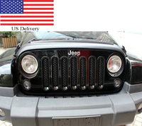 US Fast delivery Auto Car Front Insert Mesh Grill NO Lock Hole 7pcs ABS Styling Refit Grille For Jeep Wrangler 2007 2014