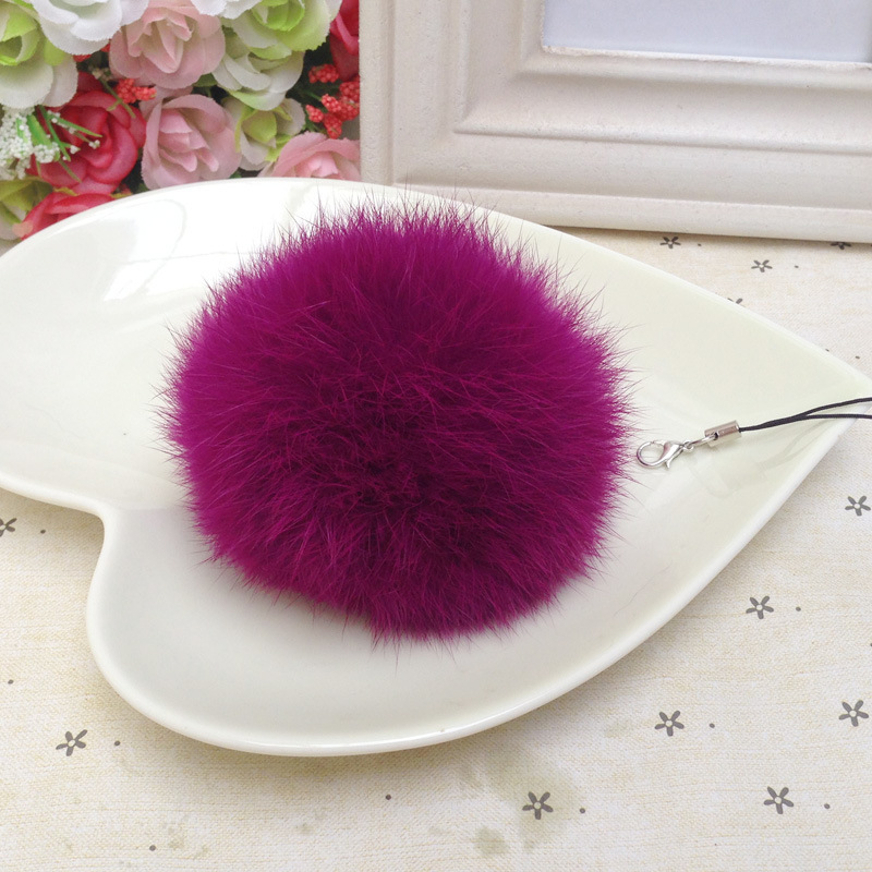Fluffy 11 colors 8cm Rabbit Fur Pompom Ball With Rope DIY Winter Hat   Skullies     Beanies   Knitted Cap Pompoms Fif-K069-purple