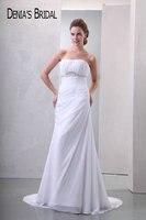שמלות כלה סטרפלס אלגנטי תמונה אמיתית חרוזים Ruched משפט רכבת שיפון שמלות כלה