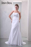 Elegant Strapless Wedding Dresses Real Image Beaded Ruched Court Train Chiffon Bridal Gowns