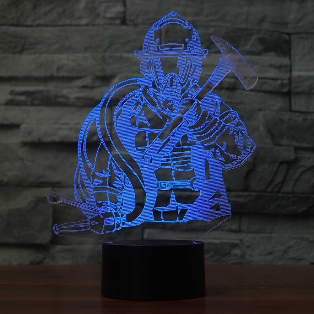 LED 3D דוגמנות כבאי כבאי אורות Creative לילה USB מנורת שולחן תאורת בית תפאורה 7 צבעים משתנים שינה ילדי מתנות