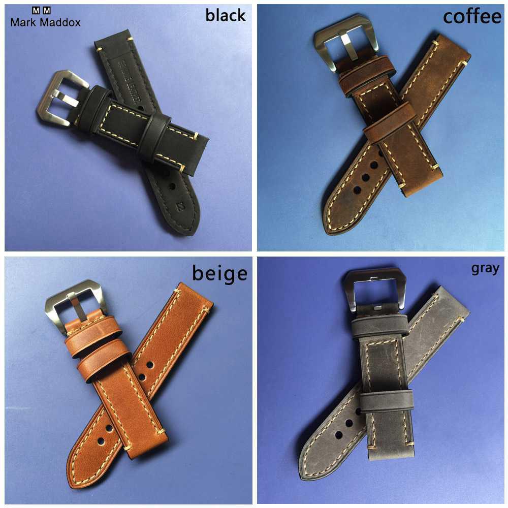 Prix pour Nouveau bracelet 20 MM 22 MM 24 MM 26 MM véritable en cuir cheval en cuir bande de montre bracelet de montre homme montre bretelles noir café gris-WB12075